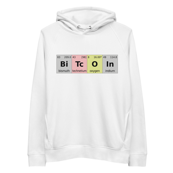 Bitcoin Periodic Table Premium Eco Hoodie White S - zeroconfs