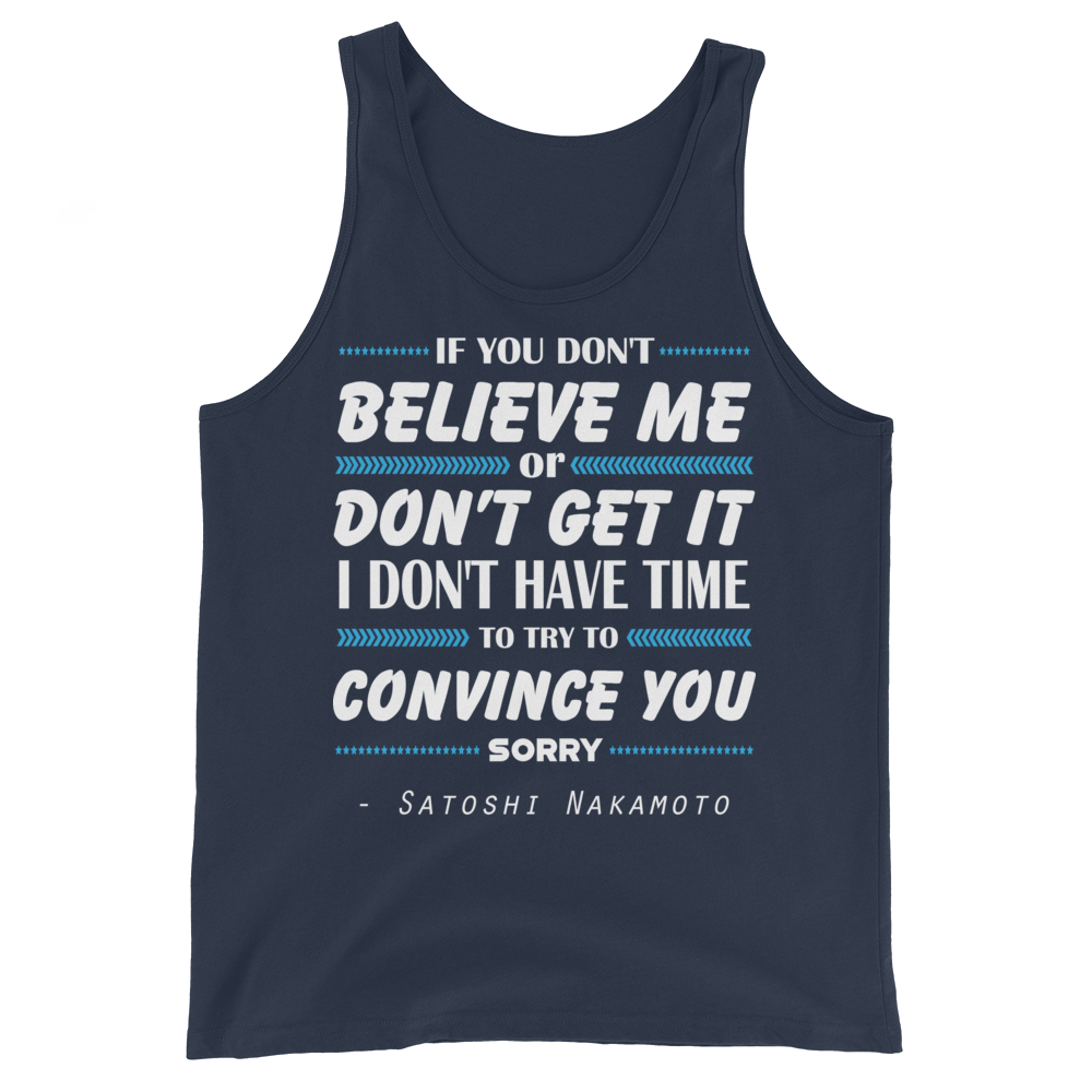 If You Don't Believe Me Bitcoin Tank Top Navy XS - zeroconfs