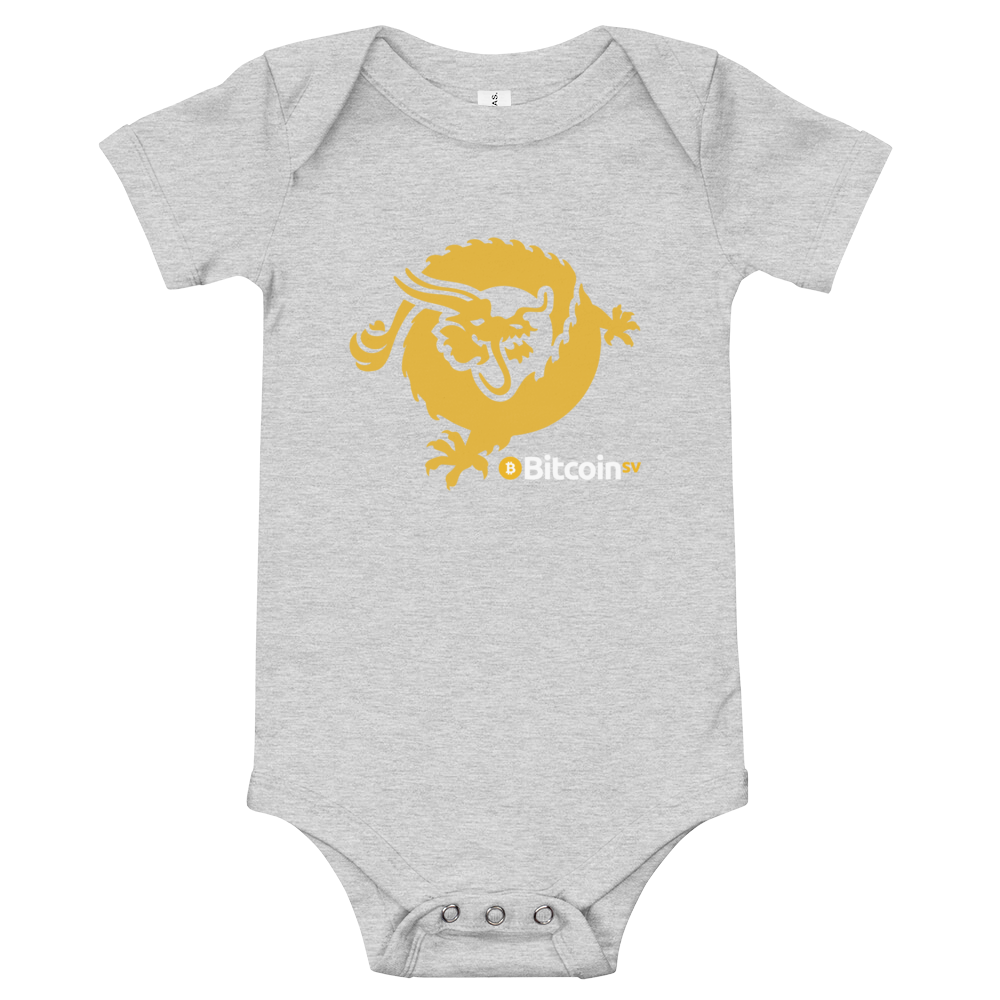 Bitcoin SV Dragon Baby Bodysuit Athletic Heather 3-6m - zeroconfs