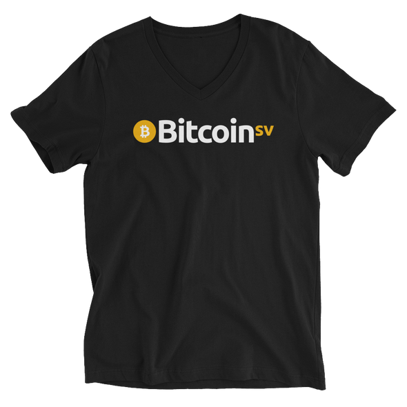 Bitcoin SV V-Neck T-Shirt Black S - zeroconfs