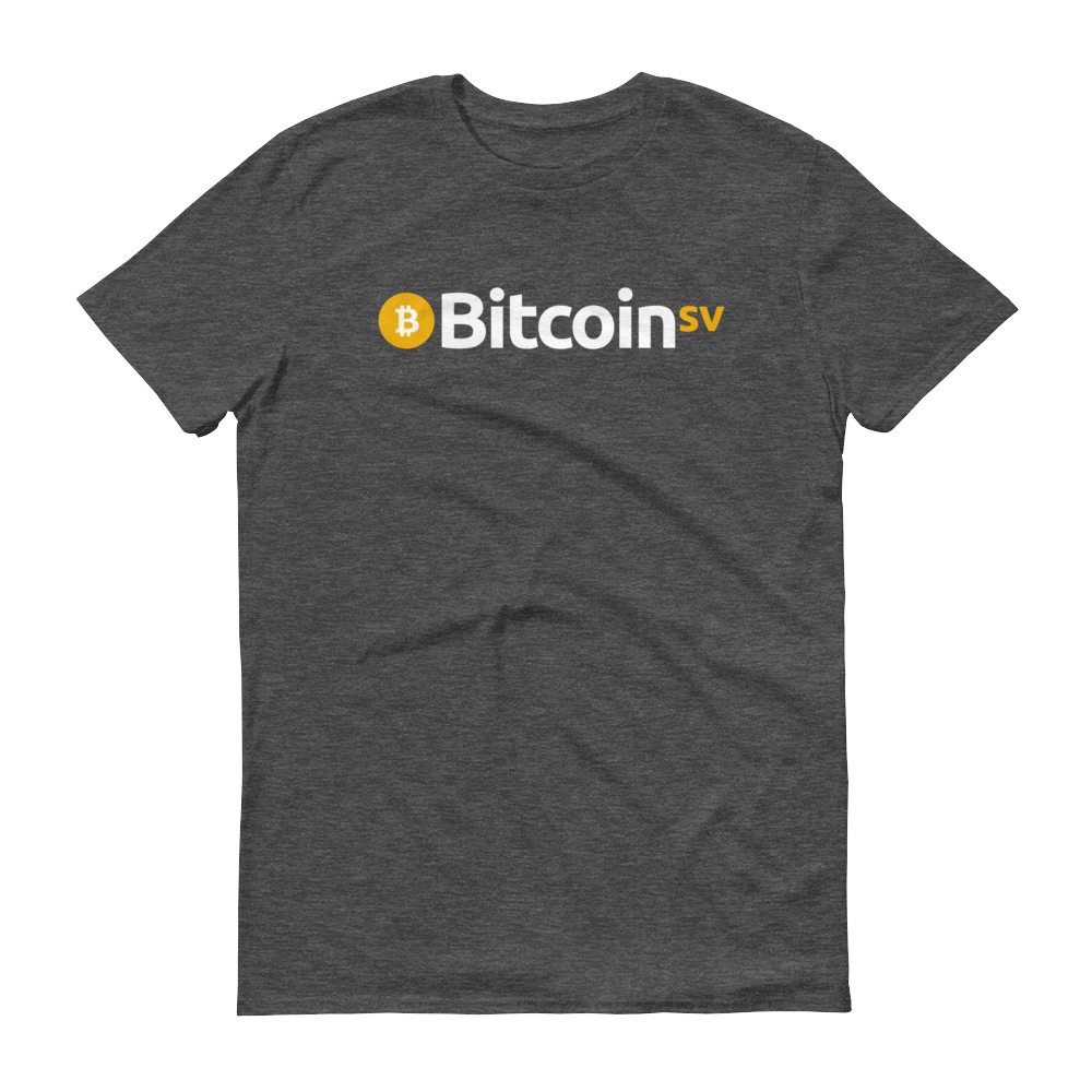 Bitcoin SV Short-Sleeve T-Shirt Heather Dark Grey S - zeroconfs