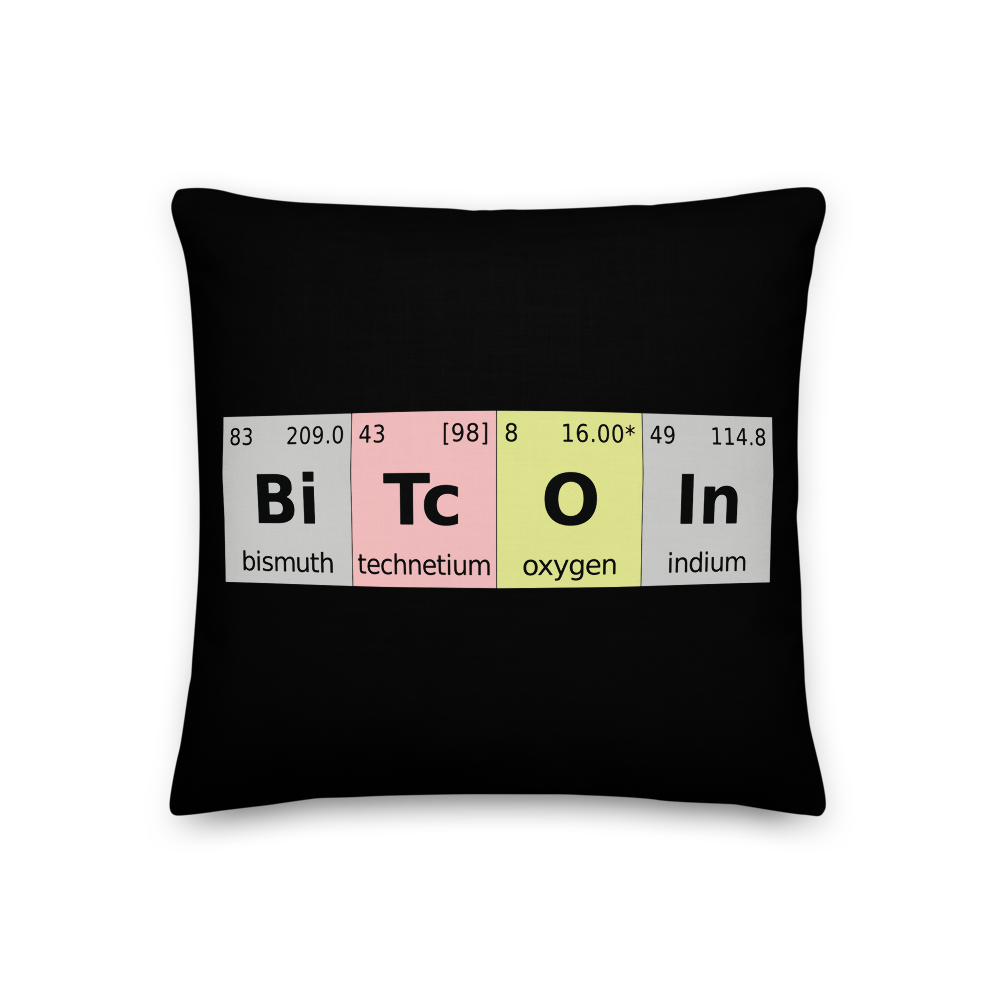Bitcoin Periodic Table Premium Pillow 18×18  - zeroconfs