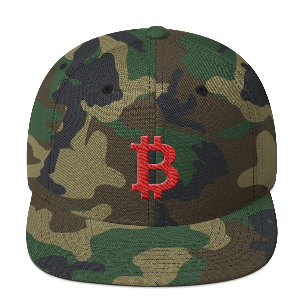 Bitcoin B Snapback Hat Red Green Camo  - zeroconfs