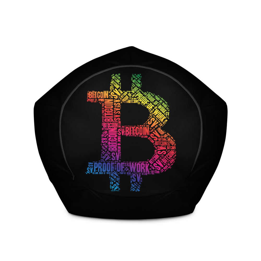 Bitcoin SV Proof Of Work Black Bean Bag Cover Only   - zeroconfs