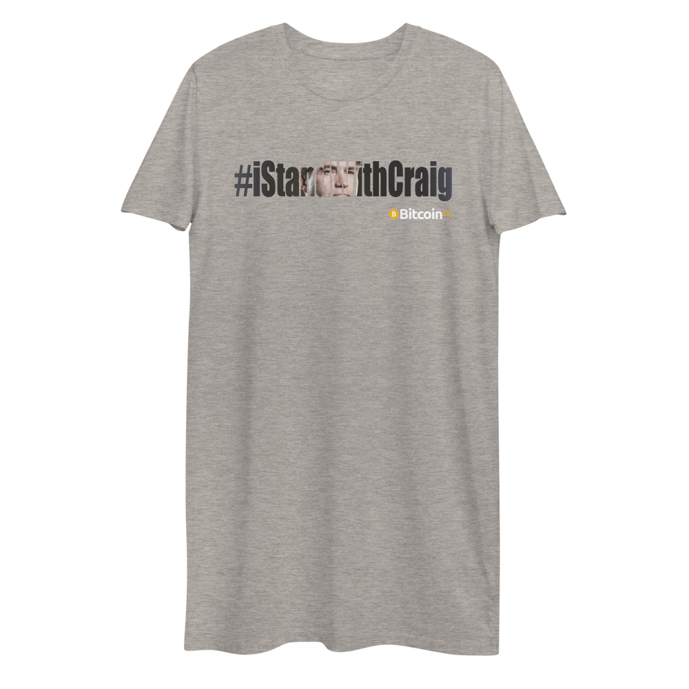 #IStandWithCraig Bitcoin SV Premium T-Shirt Dress Heather Grey XS - zeroconfs