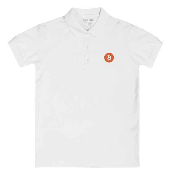 Bitcoin Core Embroidered Women's Polo Shirt White S - zeroconfs