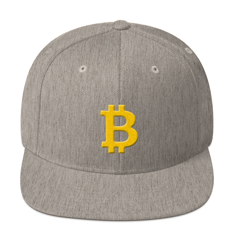 Bitcoin B Snapback Hat Heather Grey  - zeroconfs