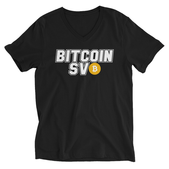 Bitcoin SV Sports V-Neck T-Shirt Black S - zeroconfs