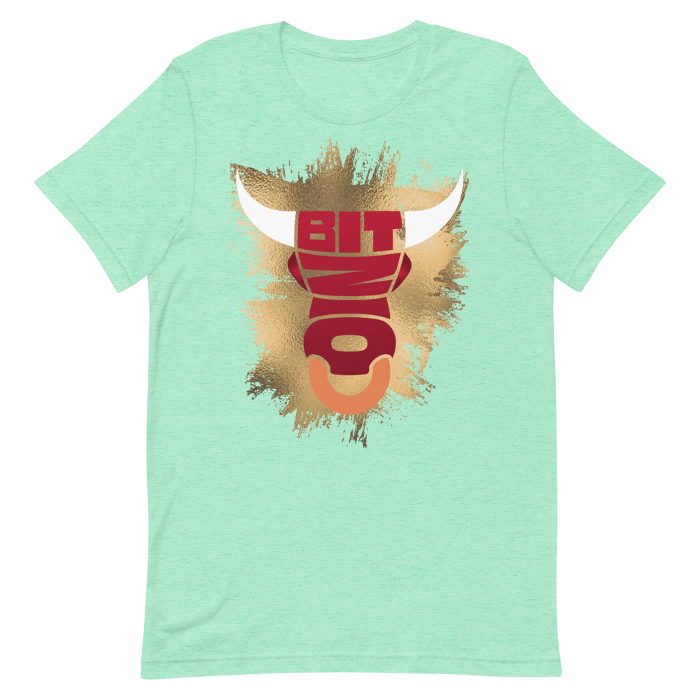 Bitcoin Bull Short-Sleeve T-Shirt Heather Mint S - zeroconfs