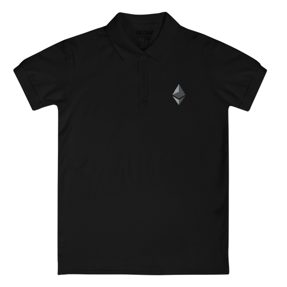 Ethereum Embroidered Women's Polo Shirt Black S - zeroconfs