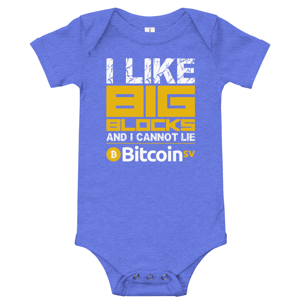 I Like Big Blocks Bitcoin SV Baby Bodysuit Heather Columbia Blue 3-6m - zeroconfs