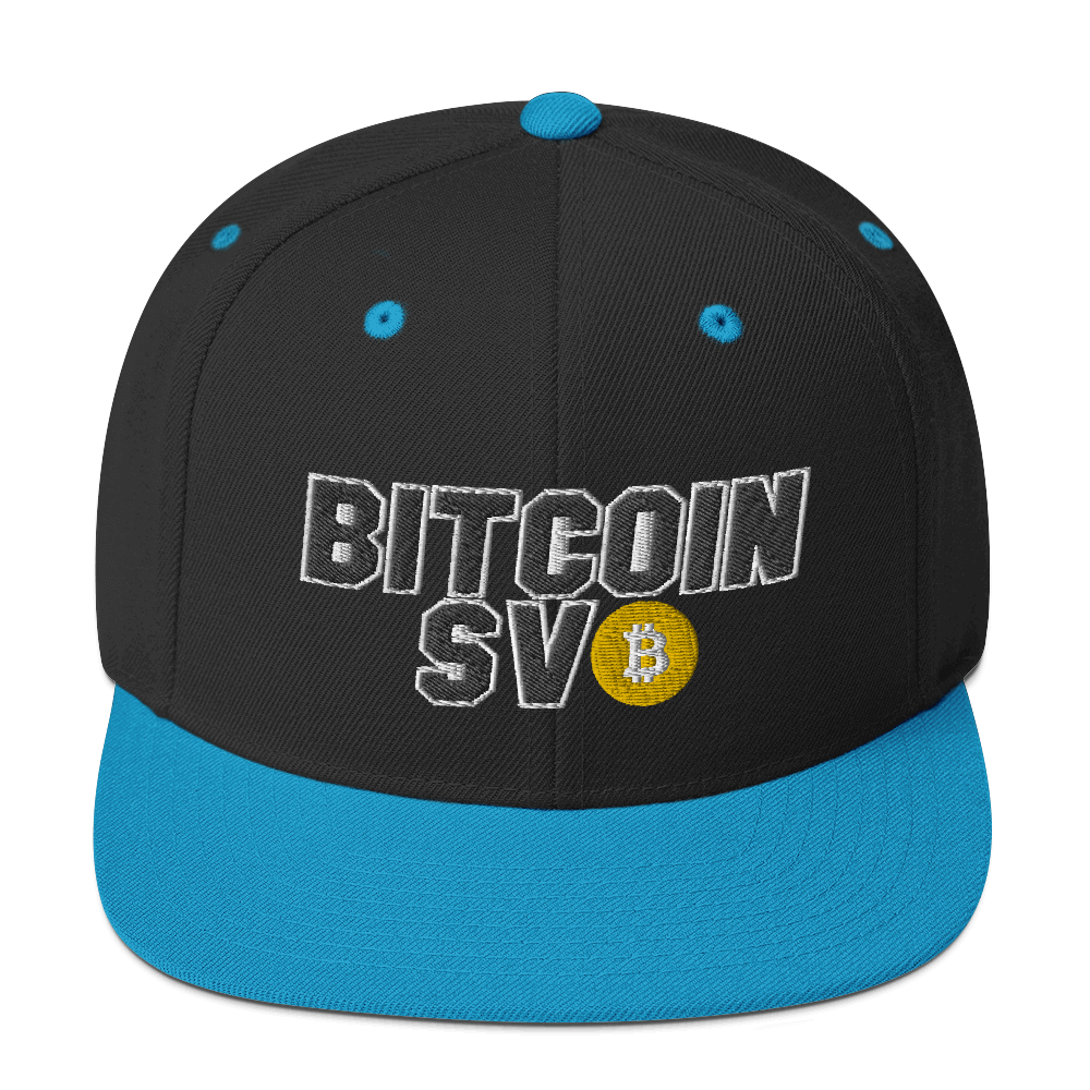 Bitcoin SV Sports Snapback Hat Black/ Teal  - zeroconfs