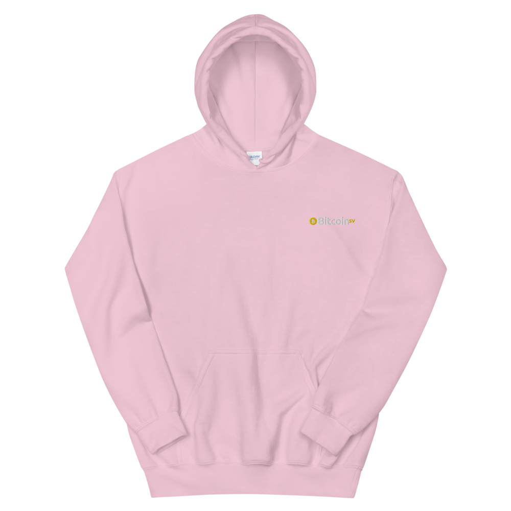 Bitcoin SV Embroidered Hooded Sweatshirt Light Pink S - zeroconfs