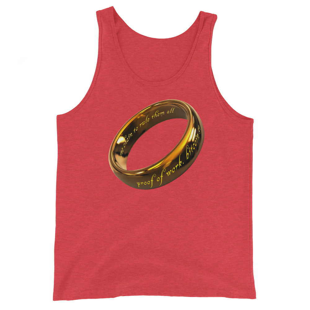 One Chain To Rule Them All Bitcoin SV Tank Top Red Triblend XS - zeroconfs