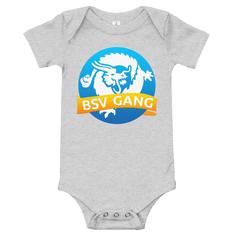 Bitcoin SV Gang Baby Bodysuit Athletic Heather 3-6m - zeroconfs
