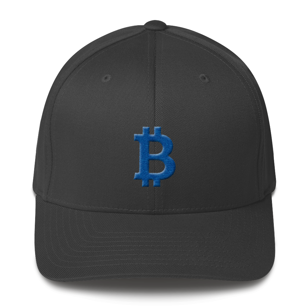Bitcoin B Flexfit Cap Blue Dark Grey S/M - zeroconfs