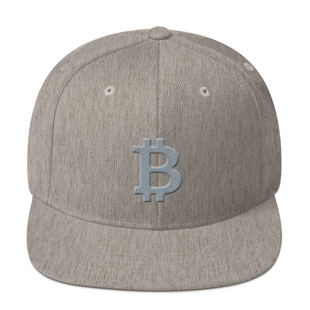 Bitcoin B Snapback Hat Gray Heather Grey  - zeroconfs