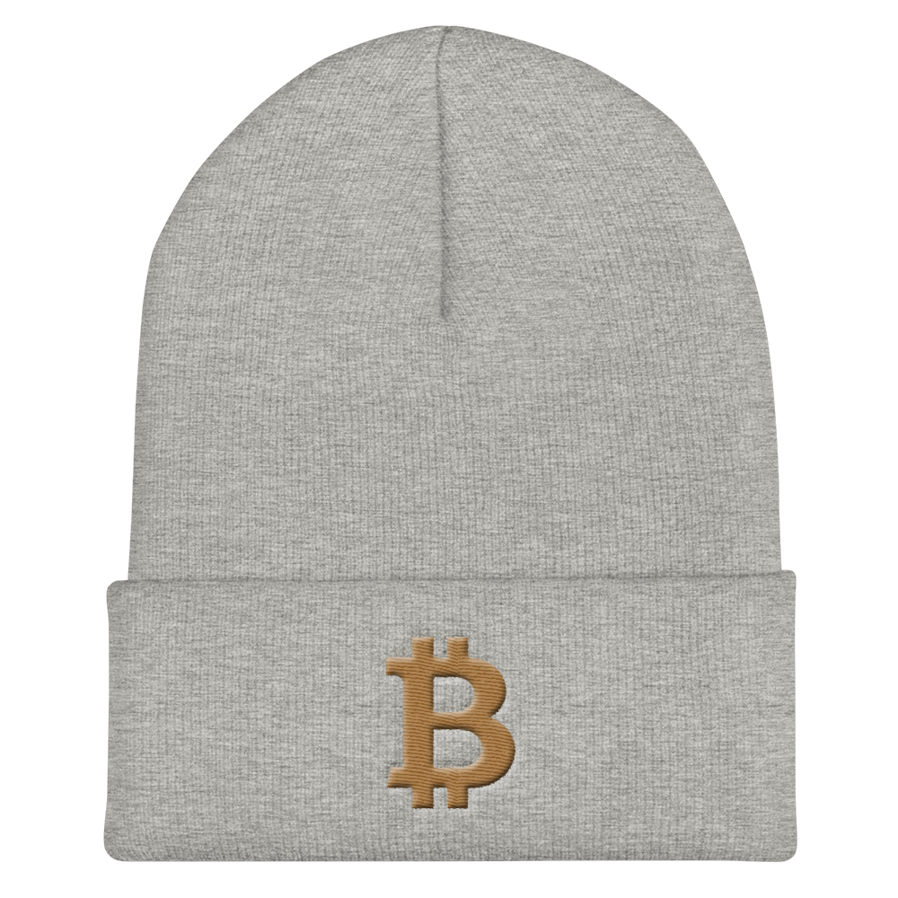 Bitcoin B Cuffed Beanie Gold Heather Grey  - zeroconfs