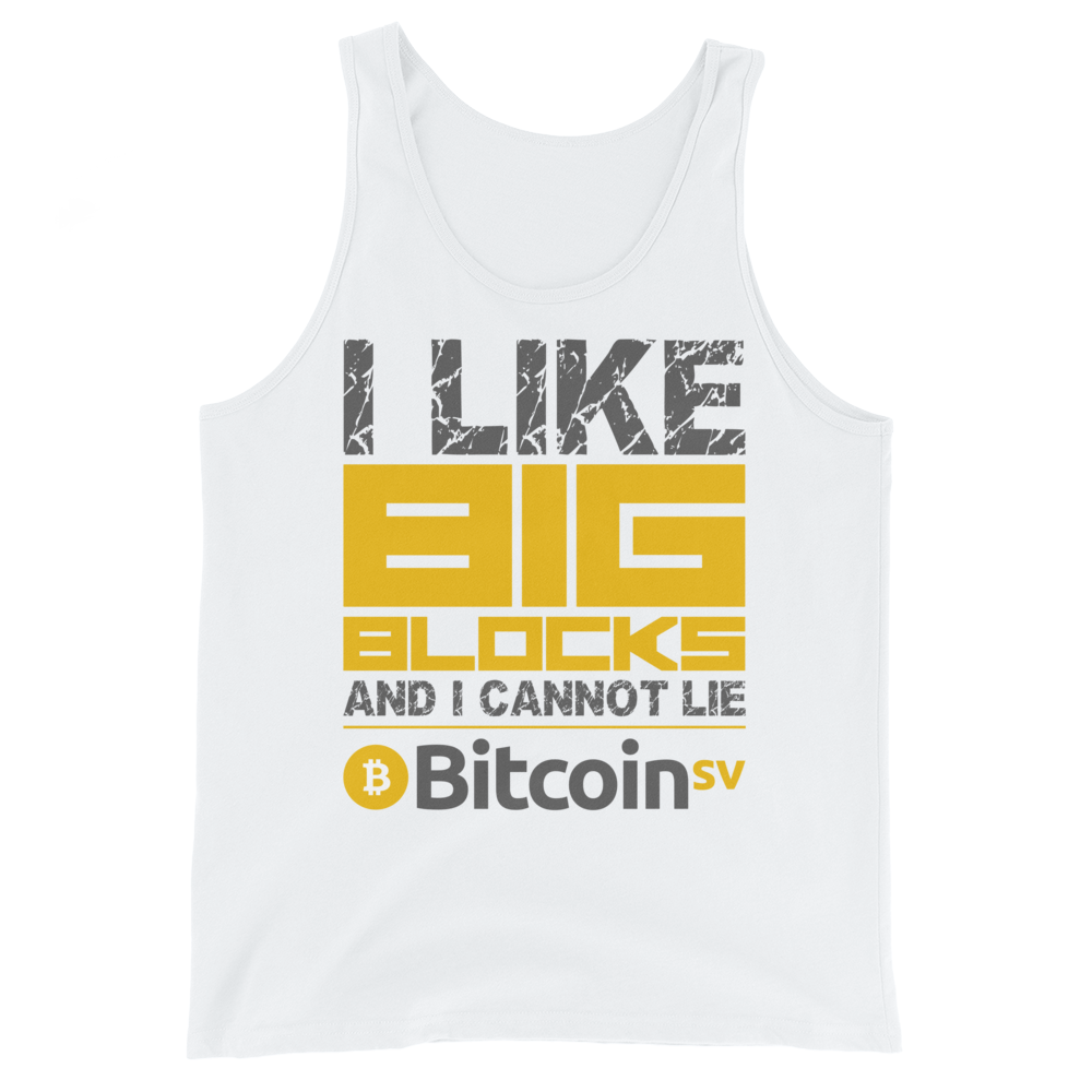 I Like Big Blocks Bitcoin SV Tank Top White XS - zeroconfs