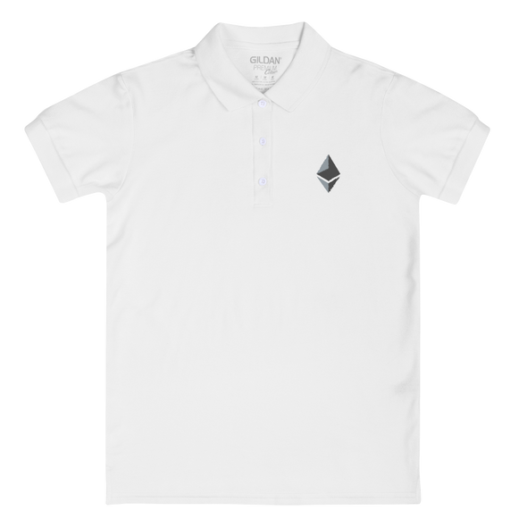 Ethereum Embroidered Women's Polo Shirt White S - zeroconfs