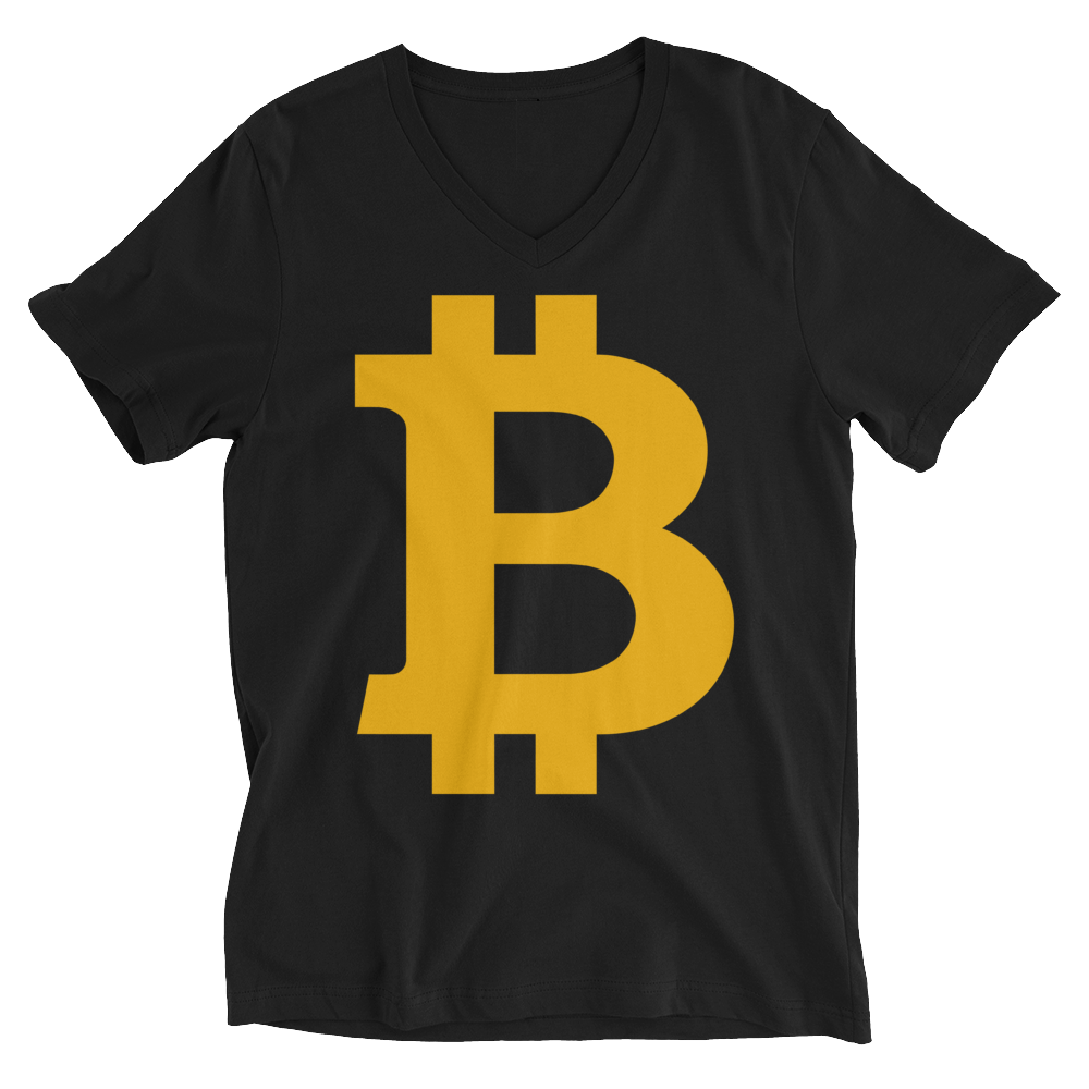 Bitcoin B V-Neck T-Shirt Black S - zeroconfs
