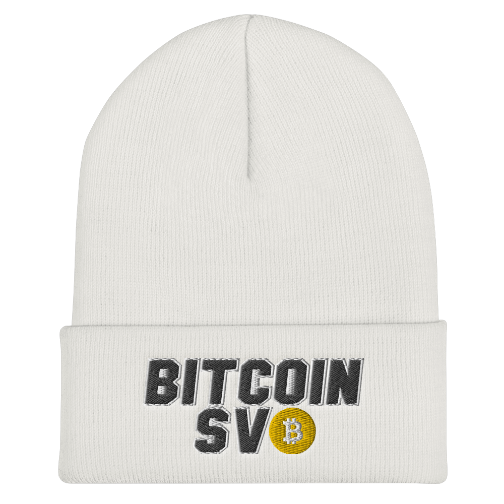 Bitcoin SV Sports Cuffed Beanie White  - zeroconfs