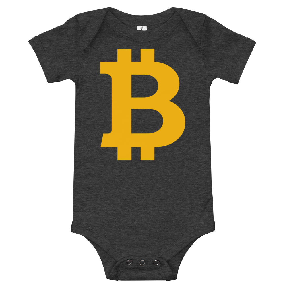 Bitcoin B Baby Bodysuit Dark Grey Heather 3-6m - zeroconfs
