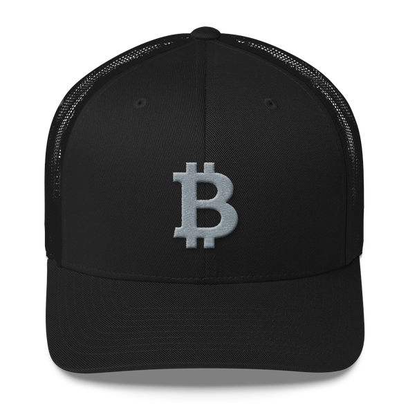 Bitcoin B Trucker Cap Gray Black  - zeroconfs
