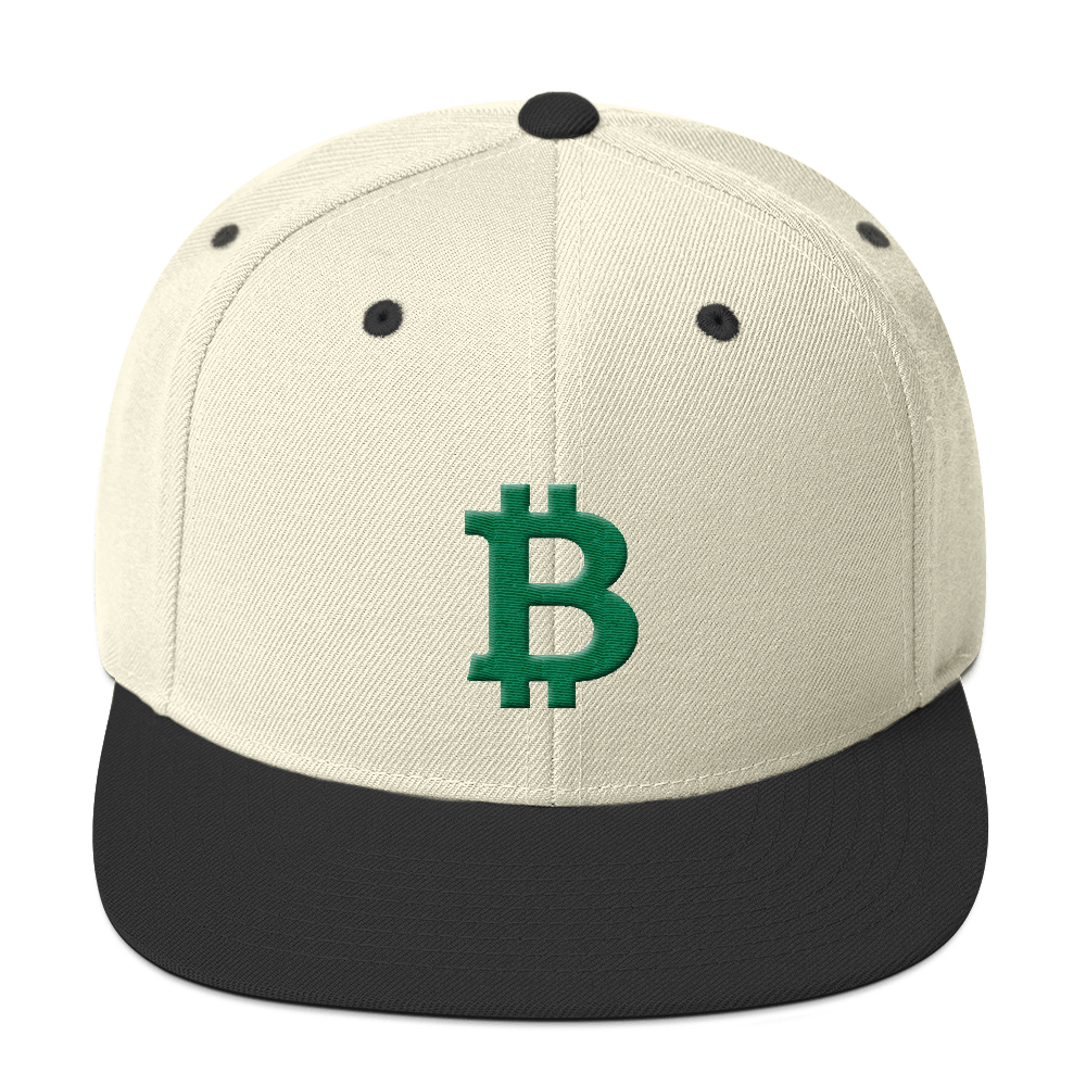 Bitcoin B Snapback Hat Green Natural/ Black  - zeroconfs