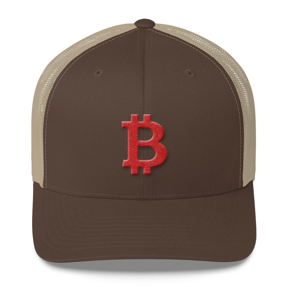 Bitcoin B Trucker Cap Red Brown/ Khaki  - zeroconfs