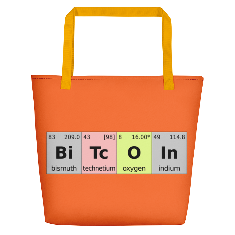 Bitcoin Periodic Table Orange Beach Bag Yellow  - zeroconfs