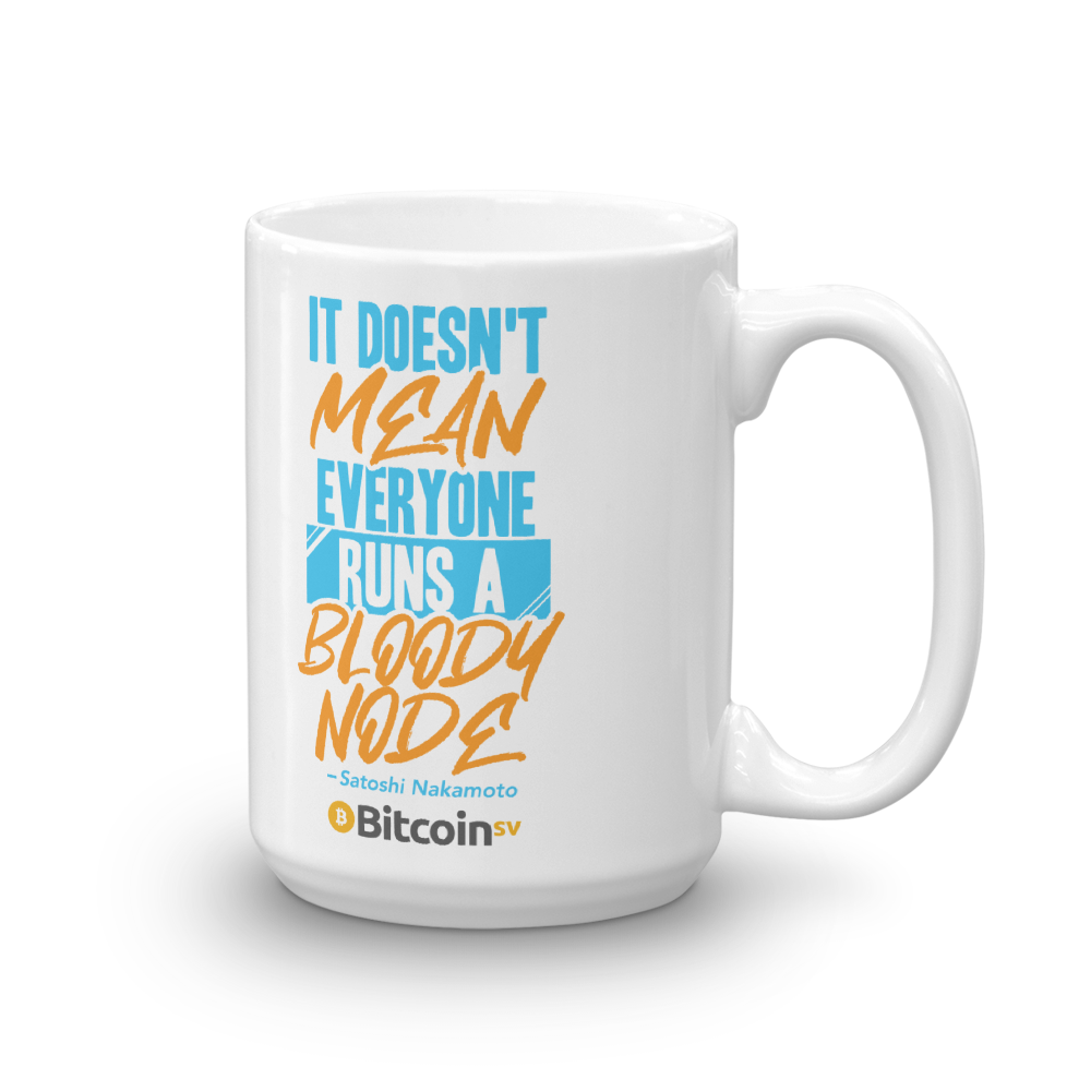 No Nodes Bitcoin SV Coffee Mug 15oz  - zeroconfs