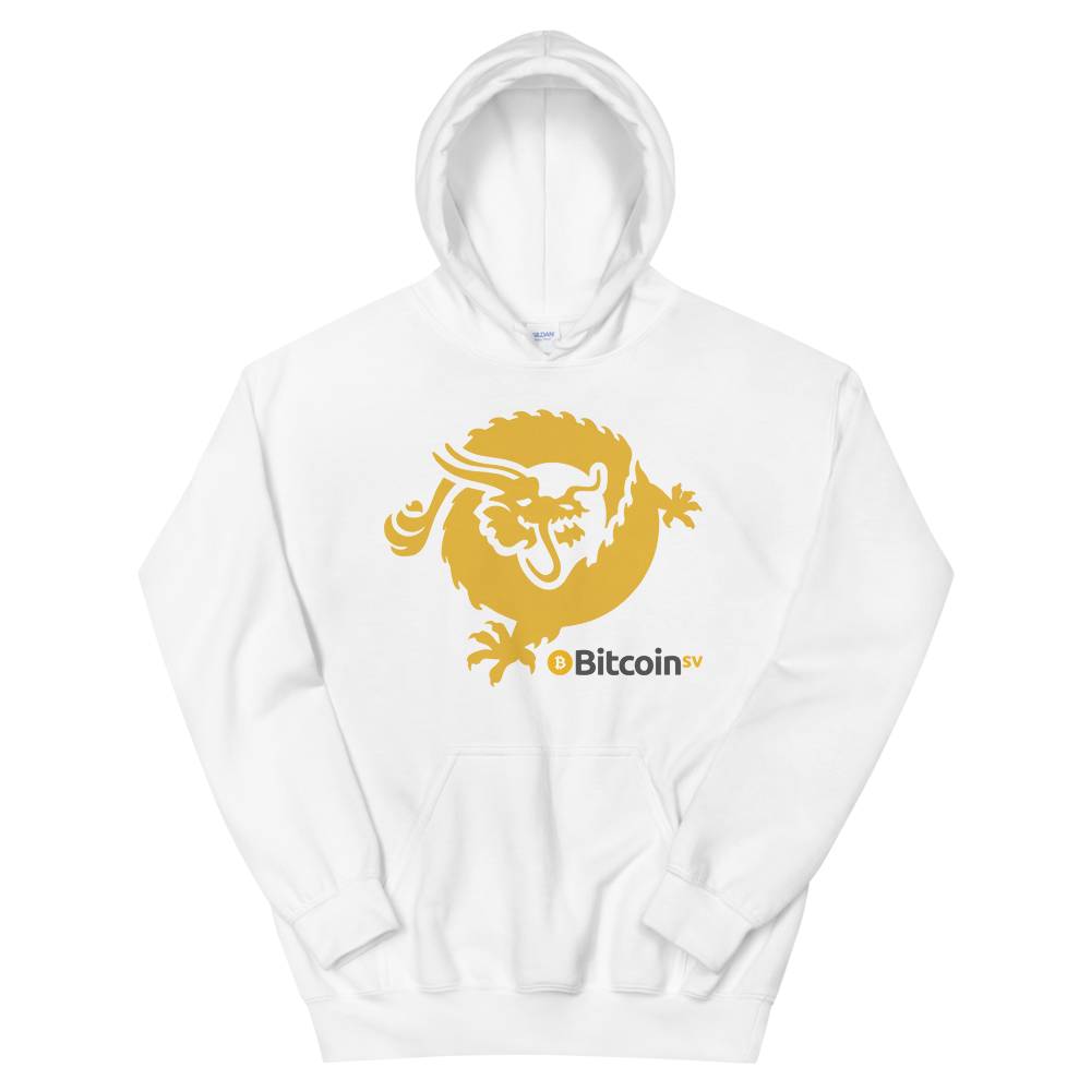 Bitcoin SV Dragon Women's Hooded Sweatshirt White S - zeroconfs