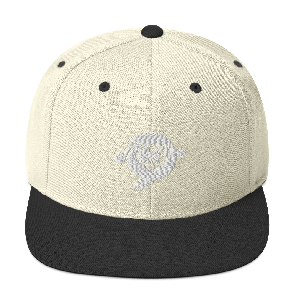 Bitcoin SV Dragon Snapback Hat White Natural/ Black  - zeroconfs