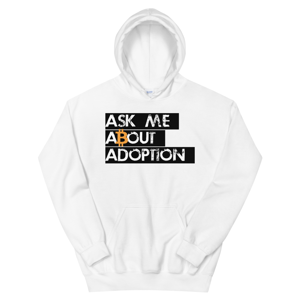 Ask Me About Adoption Bitcoin Hooded Sweatshirt White S - zeroconfs