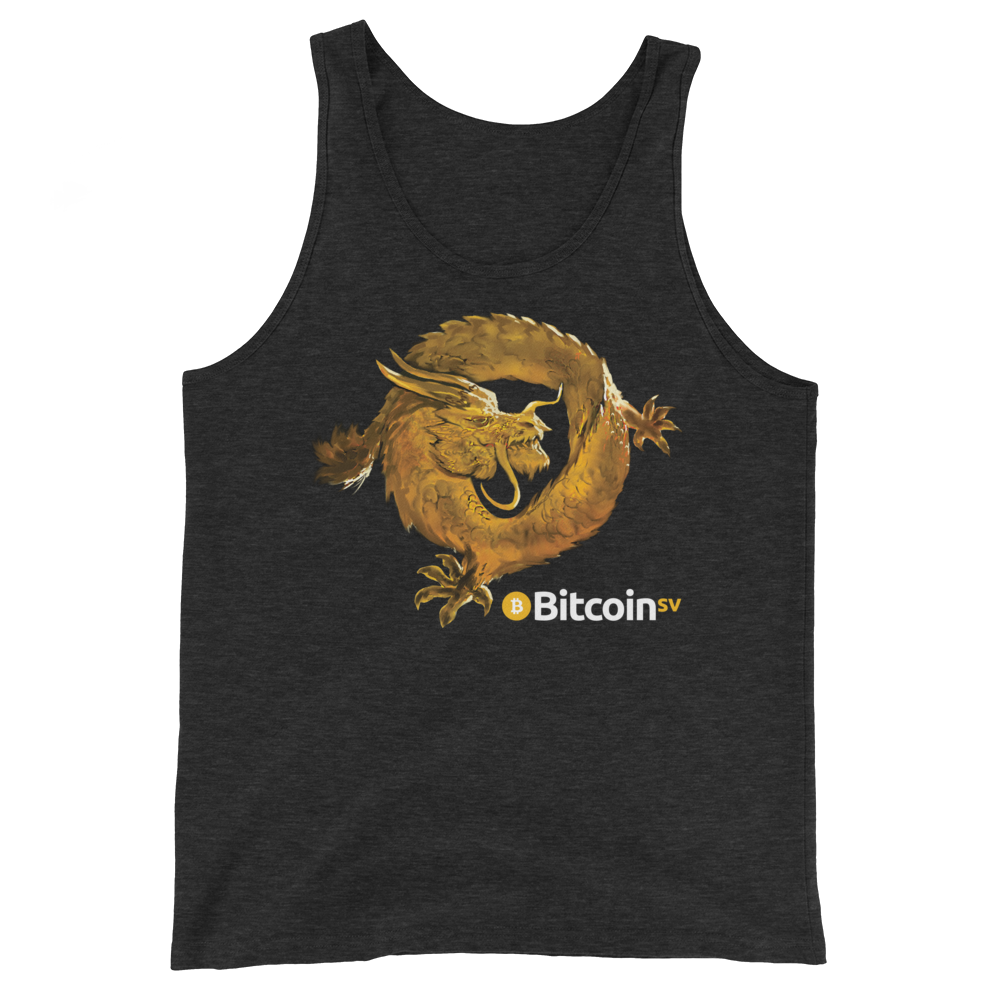 Bitcoin SV Woken Dragon Tank Top Charcoal-Black Triblend XS - zeroconfs