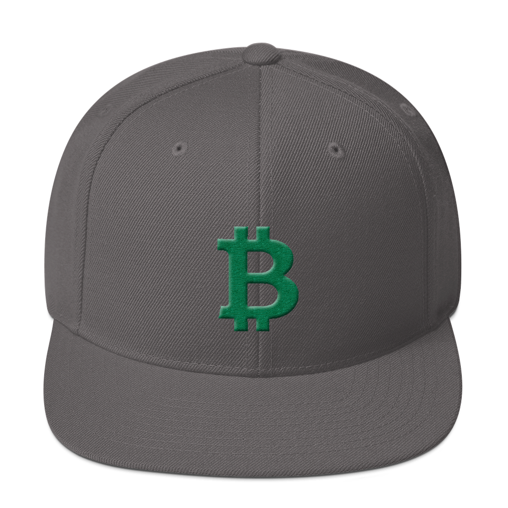 Bitcoin B Snapback Hat Green Dark Grey  - zeroconfs