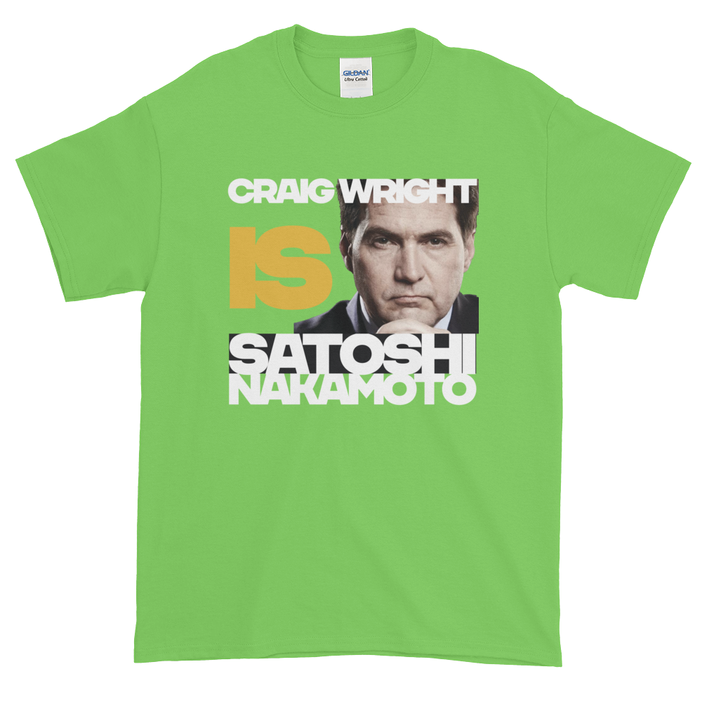 Craig Is Satoshi Short-Sleeve T-Shirt Plus Size Lime XL - zeroconfs