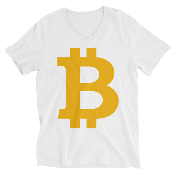 Bitcoin B V-Neck T-Shirt White S - zeroconfs