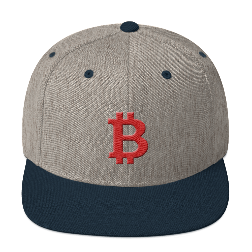 Bitcoin B Snapback Hat Red Heather Grey/ Navy  - zeroconfs