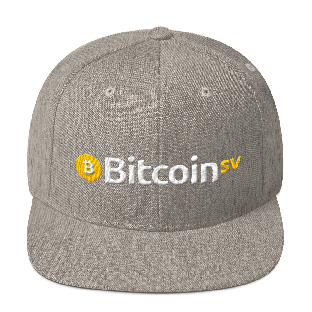 Bitcoin SV Snapback Hat Heather Grey  - zeroconfs