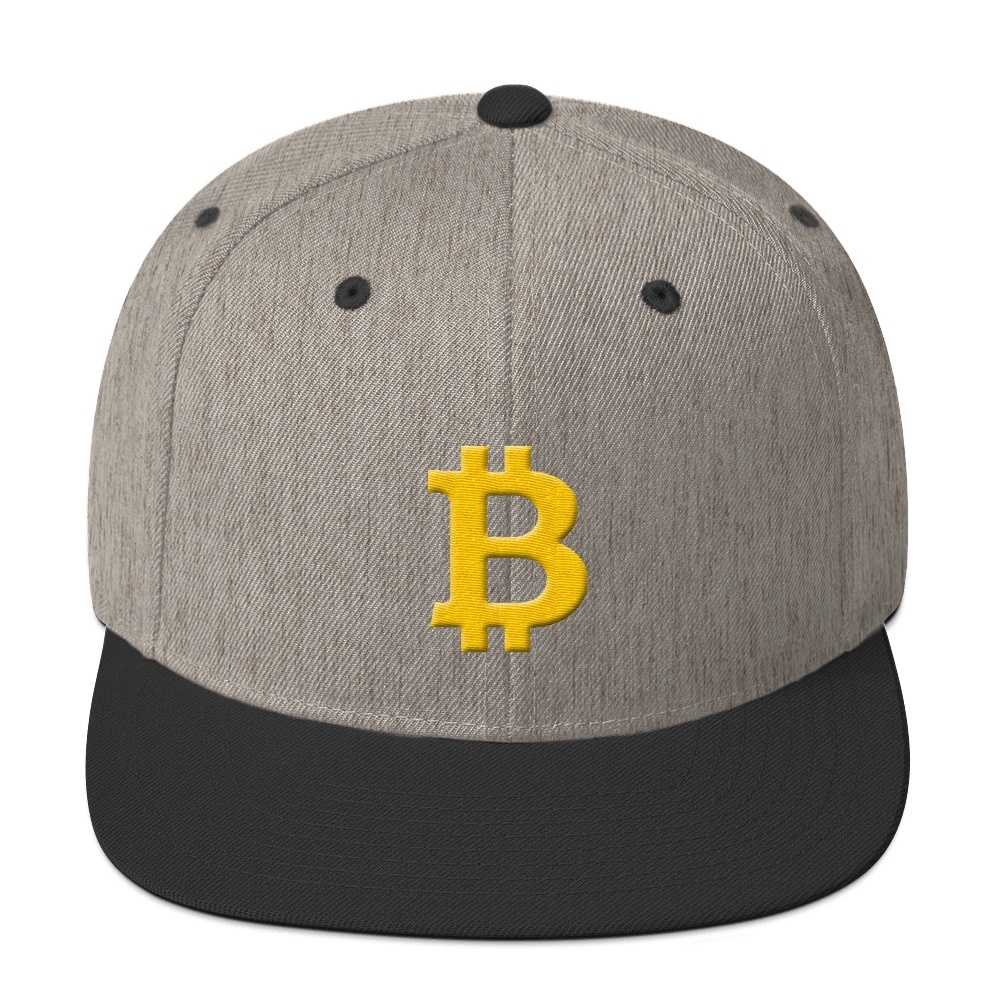 Bitcoin B Snapback Hat Heather/Black  - zeroconfs