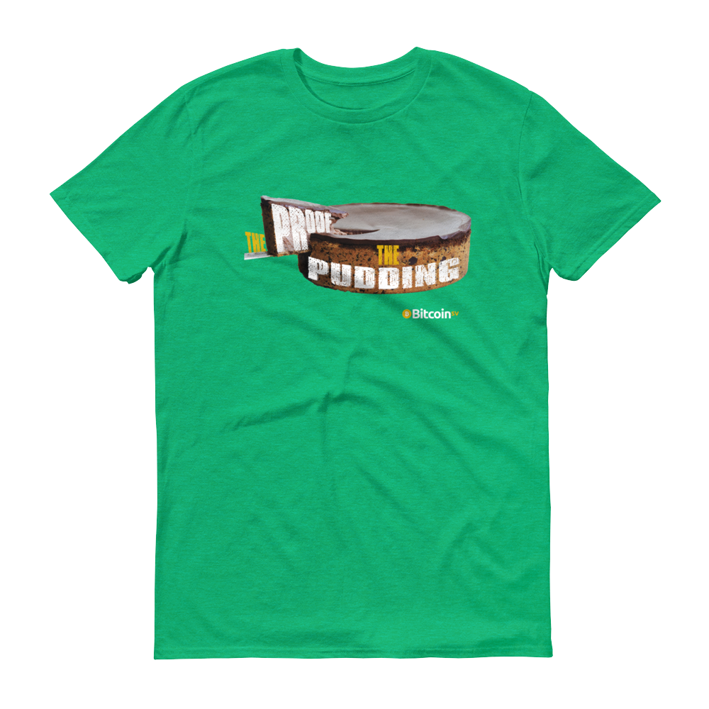 Proof Of Pudding Bitcoin SV Short-Sleeve T-Shirt Heather Green S - zeroconfs