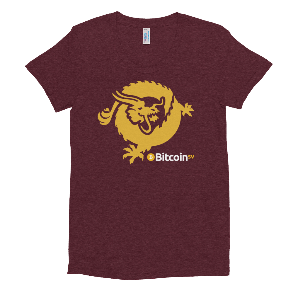 Bitcoin SV Dragon Women's Crew Neck T-Shirt Tri-Cranberry S - zeroconfs