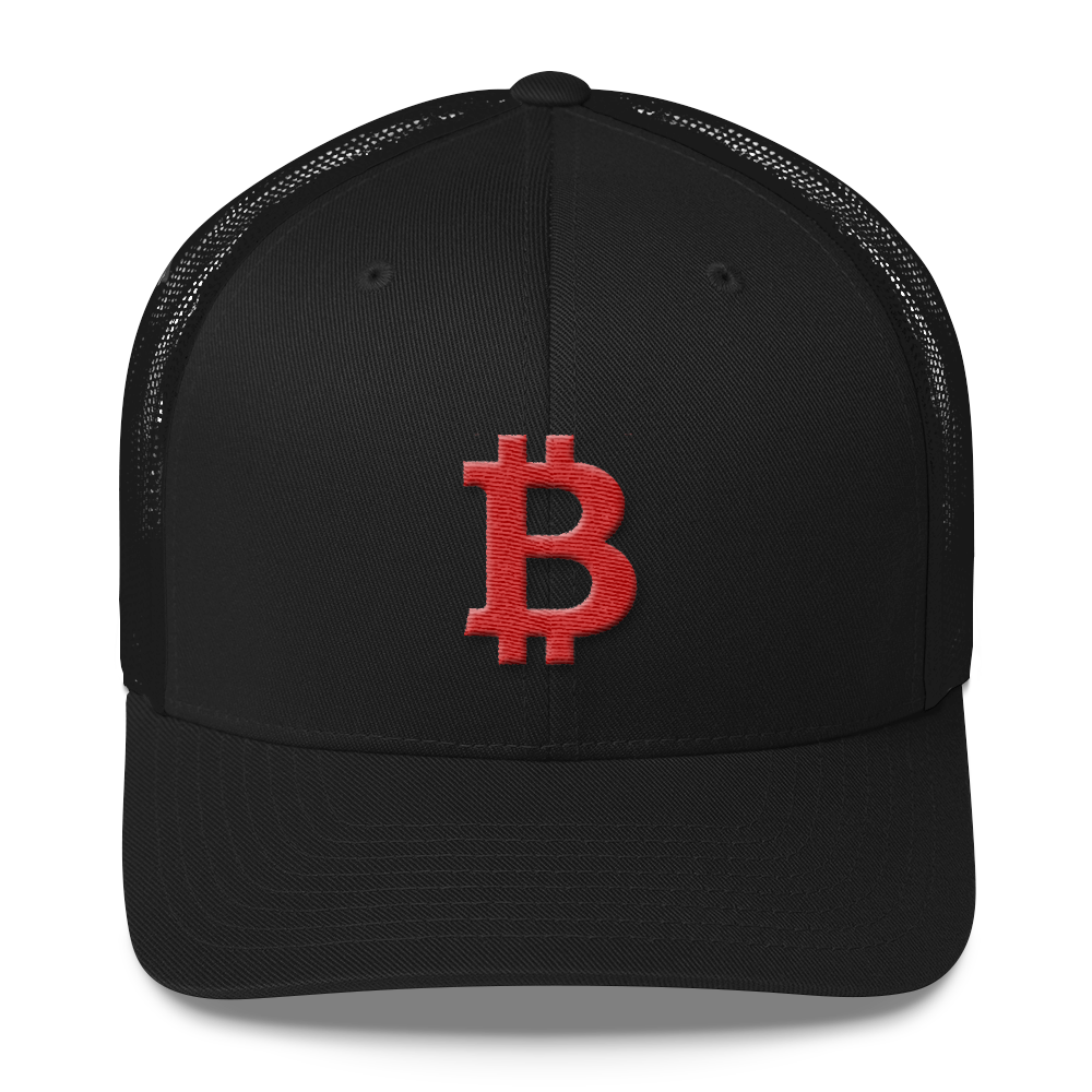 Bitcoin B Trucker Cap Red Black  - zeroconfs