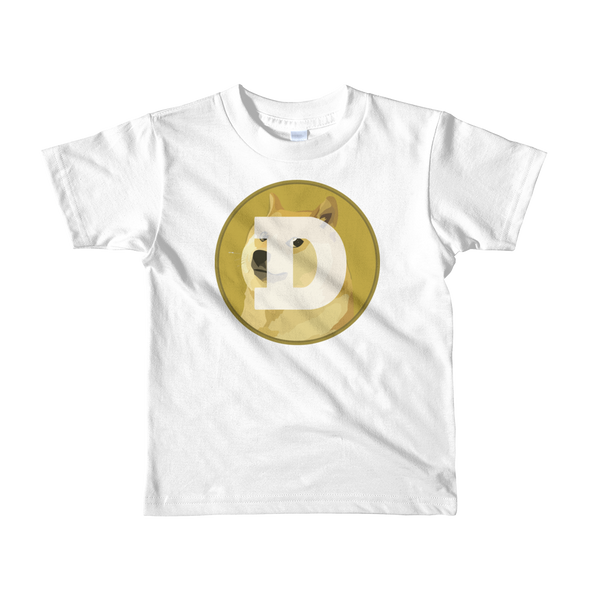 Dogecoin Short Sleeve Kids T-Shirt White 2yrs - zeroconfs