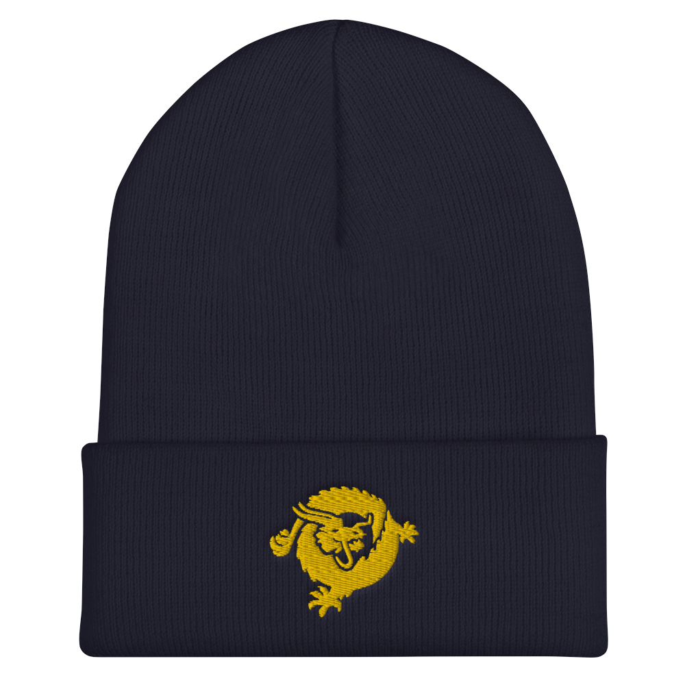 Bitcoin SV Dragon Cuffed Beanie Gold Navy  - zeroconfs