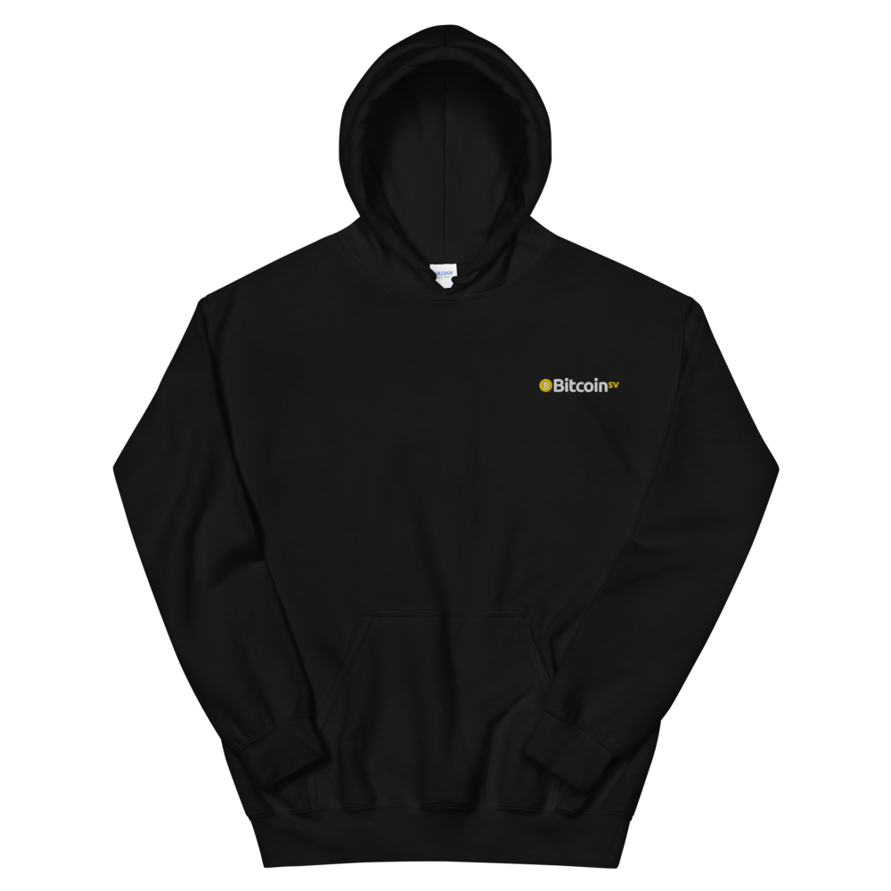 Bitcoin SV Embroidered Hooded Sweatshirt Black S - zeroconfs