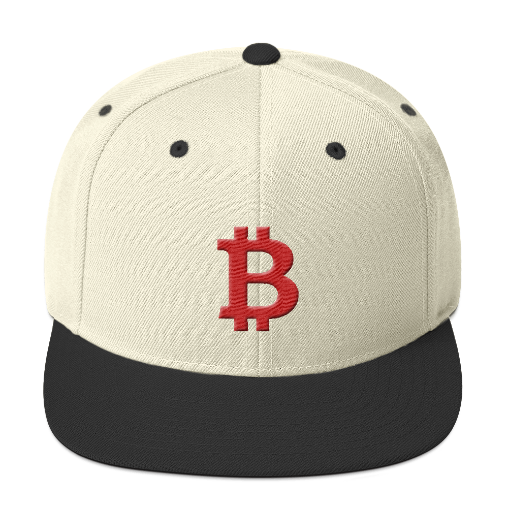 Bitcoin B Snapback Hat Red Natural/ Black  - zeroconfs