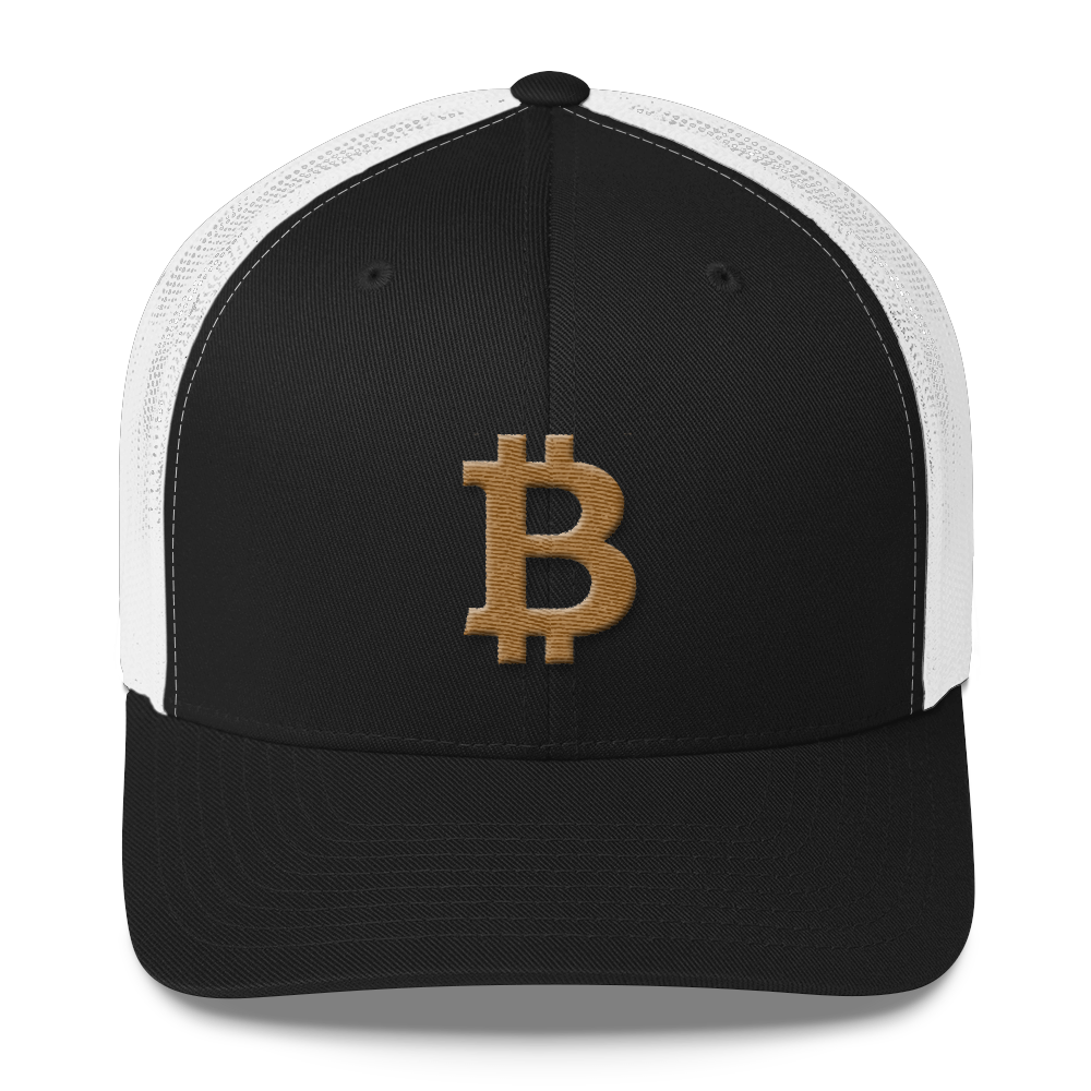 Bitcoin B Trucker Cap Gold Black/ White  - zeroconfs